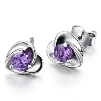 紫色水晶心型925纯银耳钉女款简约个性银饰品E04