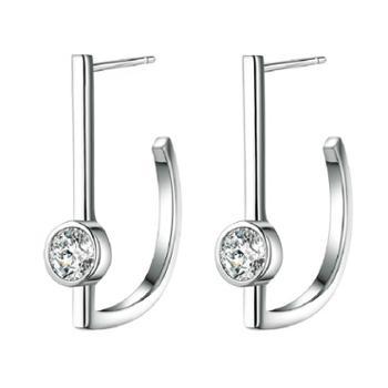 来自星星的你同款耳钉 纯银耳钉 简洁 镀玫瑰金饰品 E12