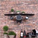 美式复古铁艺飞机造型挂钟创意壁钟金属软装壁饰贴墙钟 HJ152257