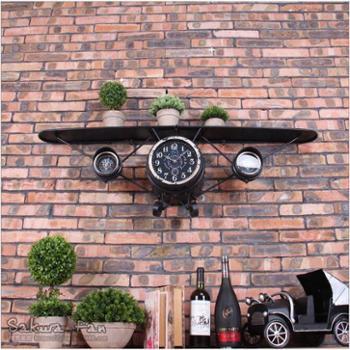 美式复古铁艺飞机造型挂钟创意壁钟金属软装壁饰贴墙钟HJ152257