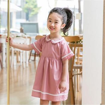 童装女宝宝学院风短袖连衣裙夏款娃娃领海军风儿童裙子