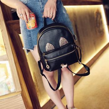 韩版女双肩包时尚猫咪小耳朵背包简约图案学院风迷你背包