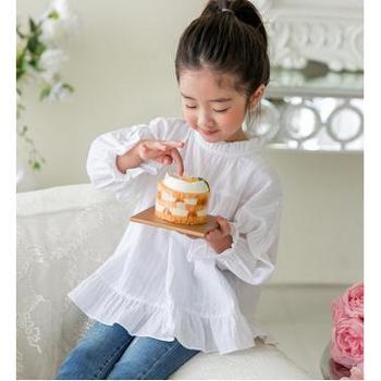 AD306秋装韩版童装女童拼接荷叶边全棉娃娃衫长袖套头童衬衫
