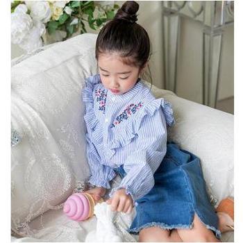 AD308秋季童装衬衫女童条纹长袖上衣花边绣花纯棉衬衣