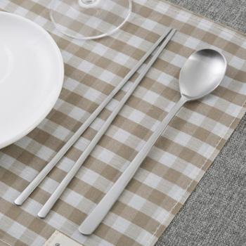 【进口包邮】韩国DM KOREA 亚光不锈钢筷子勺子餐具套装