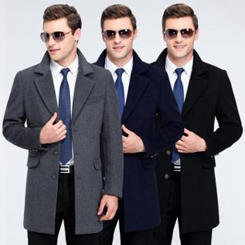 2017冬新款品牌中长款男式西装领毛呢外套中年羊毛大衣男爸爸装