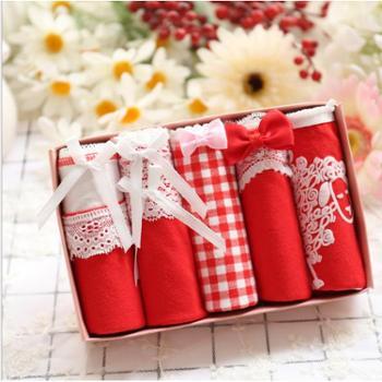 佐米草莓 包邮 红火火礼盒装日系纯棉女士内裤 可爱全棉本命年礼盒5条装