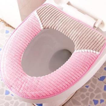 冬季加厚法兰绒马桶垫3个装通用式保暖灯芯绒马桶座套