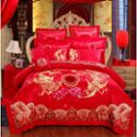 绿牧家纺贡缎提花绣花四件套高档传统婚庆大红床品用品四件套