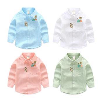 儿童衬衣男童长袖宝宝纯棉翻领卡通小男孩衬衫新款中小童休闲上衣