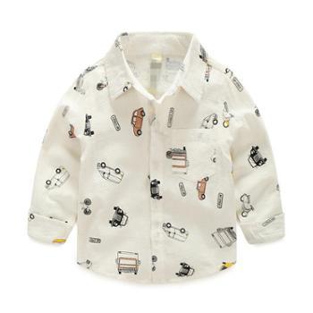 儿童棉衬衫春秋男童印花衬衣翻领上衣潮宝宝长袖新款童装