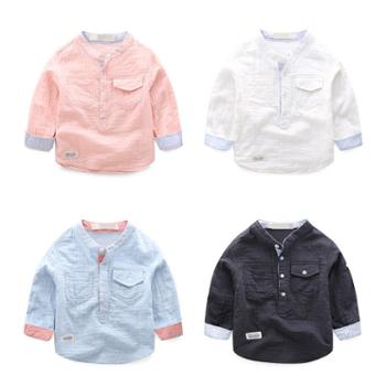 新款宝宝衬衫 儿童棉休闲立领童装长袖上衣 男童衬衣潮