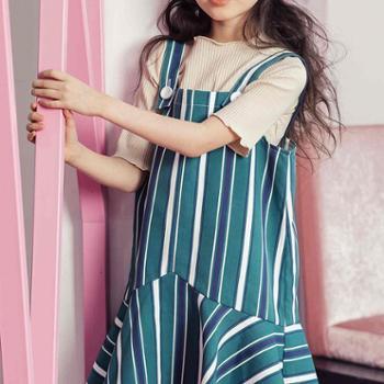 儿童童装春夏款韩版女童连衣裙条纹吊带裙子中大童