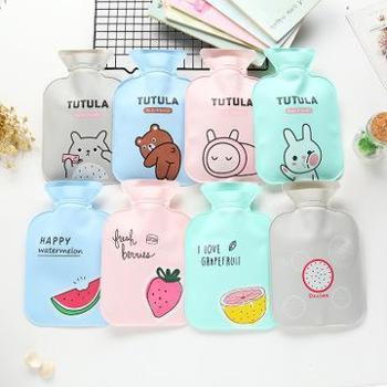 (日常居家生活用品)卡通注水热水袋可爱暖宫婴儿暖水袋安全灌水PVC暖手宝300ml