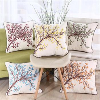 汽车。家居沙发毛巾绣棉刺绣枕套含芯靠垫花卉图案几何装饰抱枕