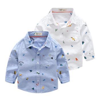 春秋百搭男童衬衫上衣儿童花衬衫1-3岁宝宝纯棉韩版童装