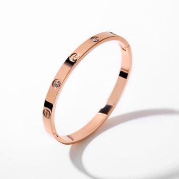 戴拉饰品大气时尚简约镀18K玫瑰金色手镯女 韩版时尚钛钢手饰礼物