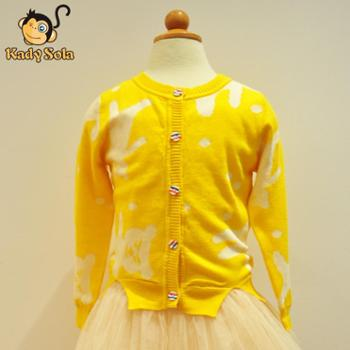 KadySola2014新品童装春秋韩版潮款儿童针织上衣女童长袖开衫