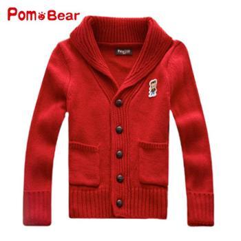波姆熊2014秋装新款童装男童毛衣韩版针织衫春秋儿童开衫外套