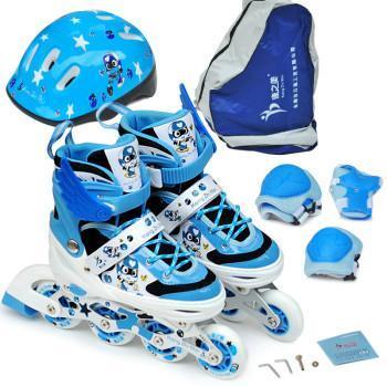 正品轮滑鞋可爱卡通旱冰可调码直排pu轮闪光轮 舒适儿童溜冰鞋 宝蓝