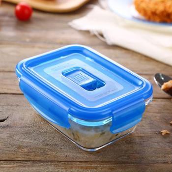 乐美雅全钢化纯净玻璃保鲜盒长方形385ml-L0810