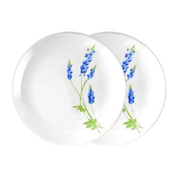 乐美雅法国进口塞纳蓝欧珀钢化玻璃餐具-8寸平盘(2只装)