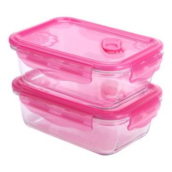 乐美雅梦幻大丽花玻璃保鲜盒长方形2件套(820ml*2)