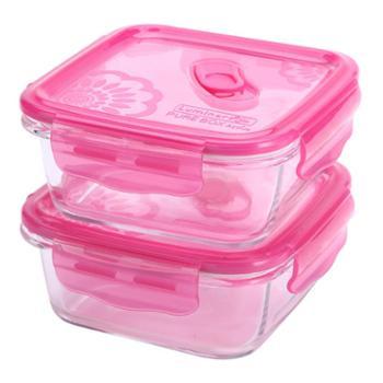乐美雅梦幻大丽花玻璃保鲜盒正方形2件套(760ml*2)