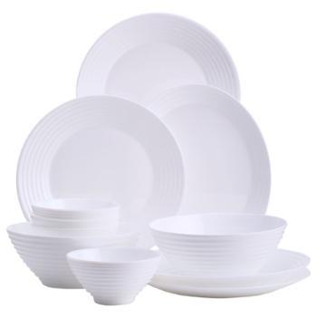 乐美雅餐具套装碗盘北欧风白玉玻璃餐盘微波炉适用-华瑞娜餐具11件套