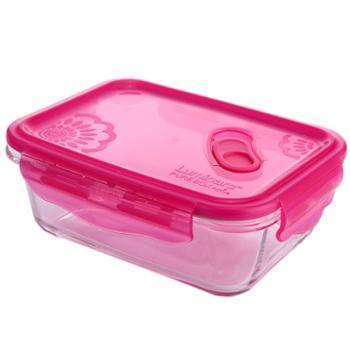 乐美雅梦幻大丽花保鲜盒全钢化玻璃保鲜盒长方形1220ml-L5311