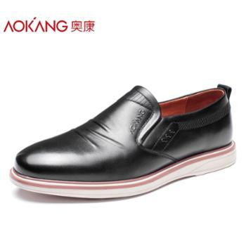 奥康男鞋休闲鞋男真皮鞋子2018春季款韩版潮真皮懒人男士低帮皮鞋