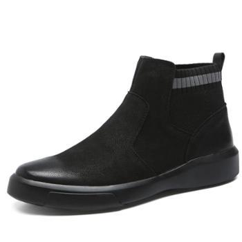 OSCO时尚休闲英伦风高帮鞋潮百搭真皮靴子男秋季新款短靴切尔西靴