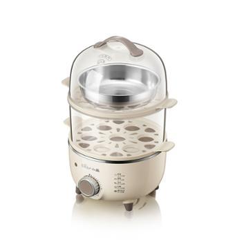 小熊(Bear)煮蛋器单双层自由组合小猪猪蒸蛋器多功能蒸蛋器防高烧保护溏心蛋ZDQ-B14R1 米黄色