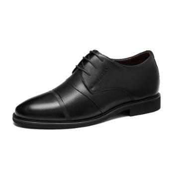 奥康Aokang男鞋 男士商务正装系带英伦皮鞋耐磨软面真皮舒适鞋子 黑色193211072