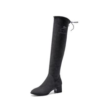 奥康女鞋女士长筒过膝靴时尚街头瘦瘦靴粗跟中跟加绒184011008