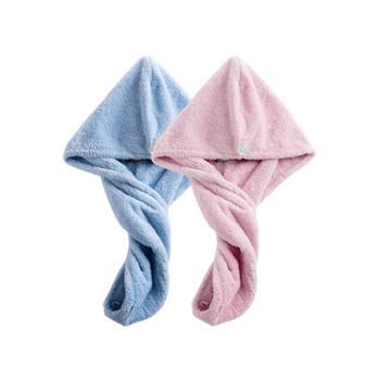 【苏宁极物】柔软速吸干发帽(两条装) 粉+蓝