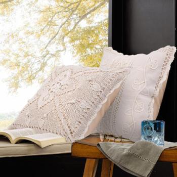 凯诗风尚娜塔莎复古镂空钩花靠垫天然棉手工编织抱枕靠枕