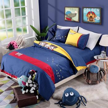 凯诗风尚精灵萌宠儿童活性绣花四件套纯棉床单被罩