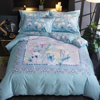 凯诗风尚全棉斜纹活性印花床品高品质中国风大版四件套床单床笠款