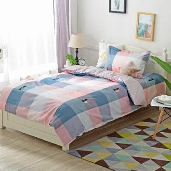 凯诗风尚全棉三件套简约格子舒适透气学生床单人床