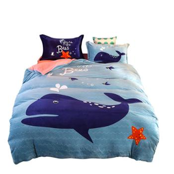 凯诗风尚大阪卡通法兰绒四件套加厚保暖冬季床上用品200*230cm