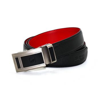 本命年男士皮带红腰带裤带头层牛皮自动扣黑色红色平安是福B红腰带