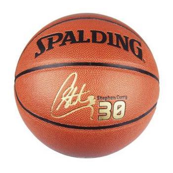 Spalding斯伯丁74-645Y库里签名篮球室内室外用球7号标准球