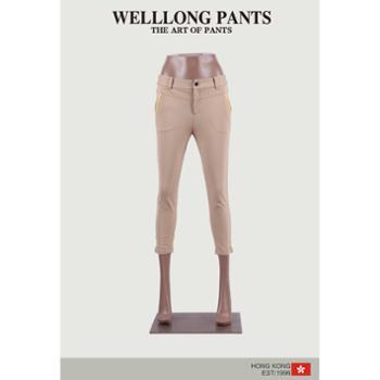 WELLLONG威尔浪女士撞色拼接针织七分裤WBC64859-02