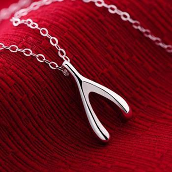 925纯银如愿骨项链弹弓韩版时尚素银锁骨项链