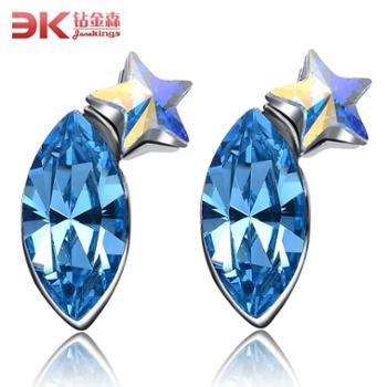 925纯银五角星蓝水晶紫水晶耳钉时尚韩版韩国百搭饰品耳饰包邮