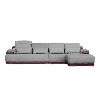 双叶 双叶家具 实木布艺现代中式转角沙发