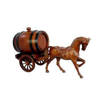 马拉车橡木桶 高档实木雕刻 礼品 1.5L橡木储酒桶