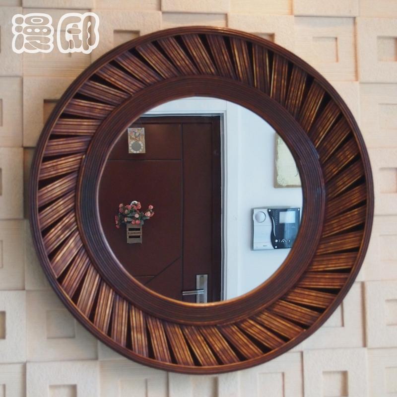 壁挂镜子镜框化妆镜欧式复古客厅装饰镜玄关镜圆形镜
