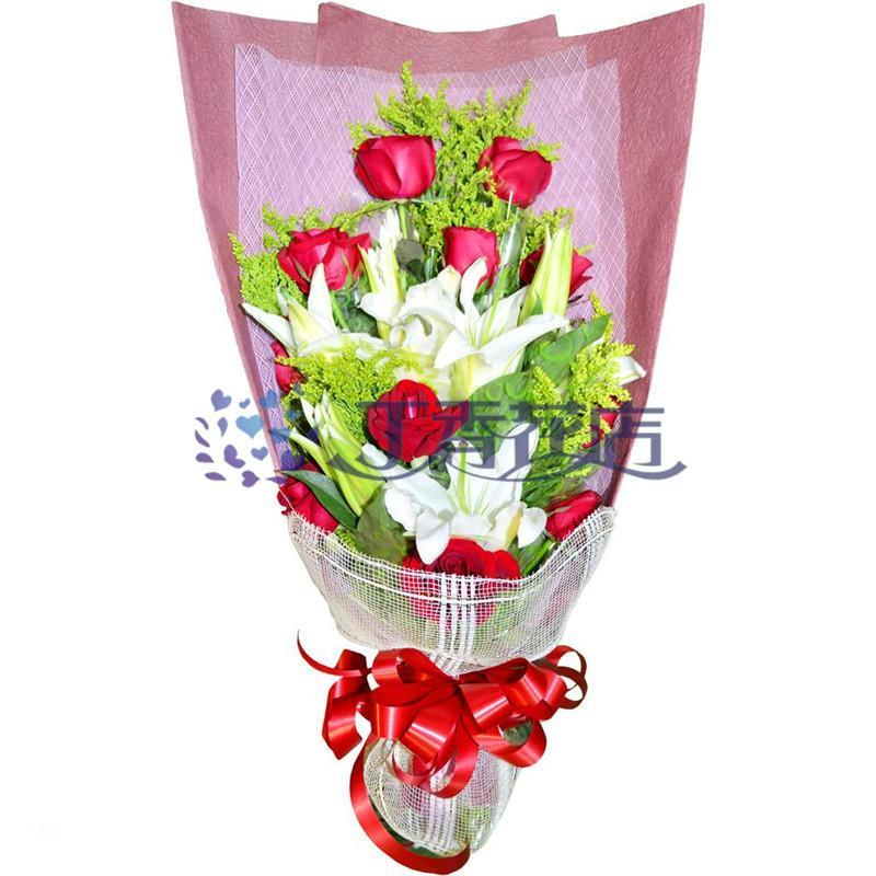 上海花店上海鲜花 生日鲜花速递 11枝红玫瑰+百合混搭花束